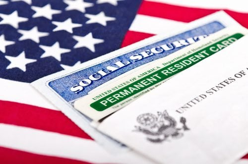 social security cards and flag